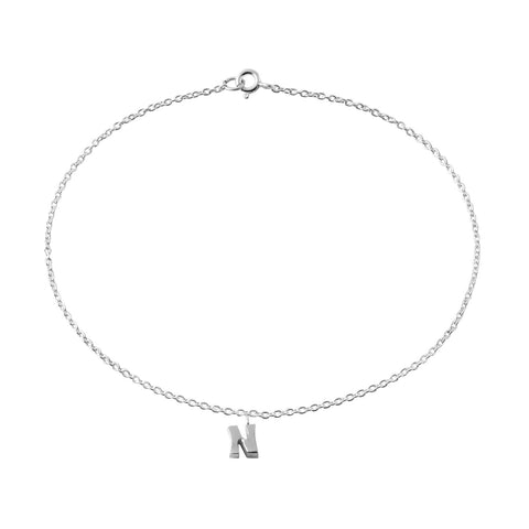 "Classic Sterling Silver ""N"" Initial Dangle Anklet"
