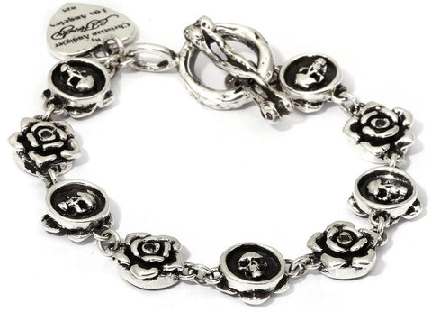 Rose and Skull Link Charm Bracelet in Sterling SIlver