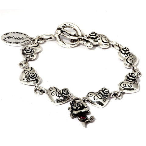 Rose and Heart Charms Bracelet in Sterling Silver with T-Bar