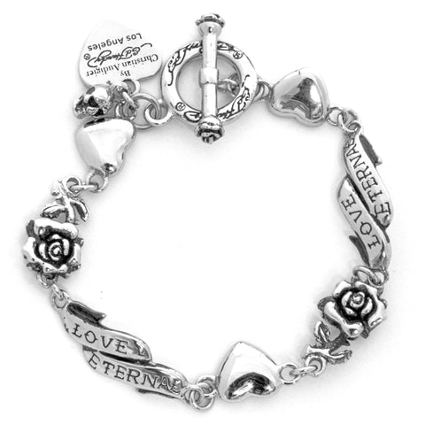 Rose and Heart Banner Link Charm Bracelet in Sterling Silver
