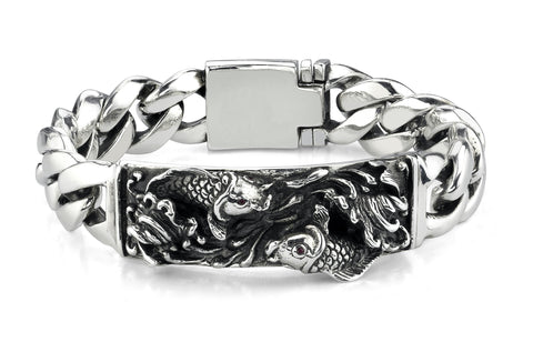 Double Jumping Koi Fish ID Bracelet in Sterling Silver