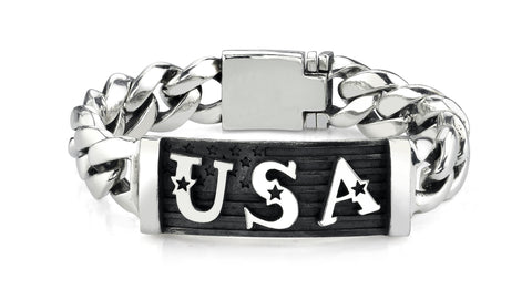 USA Flag ID Bracelet in Sterling Silver