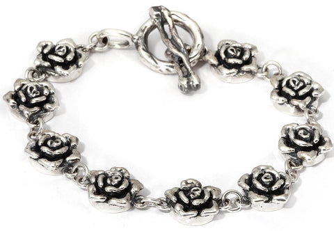 Mini Rose Link Charm Bracelet in Sterling Silver T- Bar