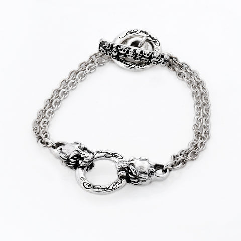 Mini Panther Double Chain Bracelet in Sterling Silver T- Bar