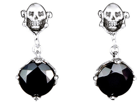 Skull Stud Drop with Round Shape Black CZ Dangle Earring