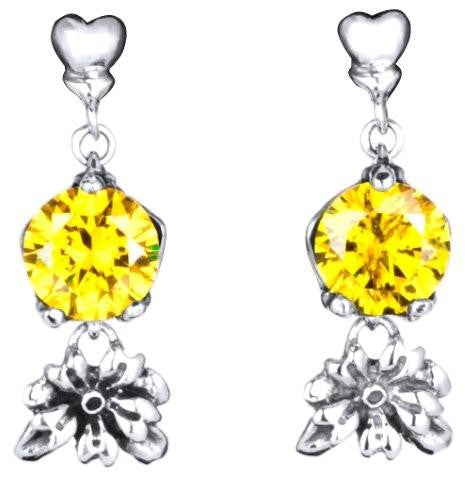 Heart Stud Drop with Flower and Yellow CZ Dangle Earring