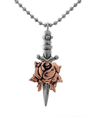 Dagger with Rose Necklace in Bronze and Sterling Silver