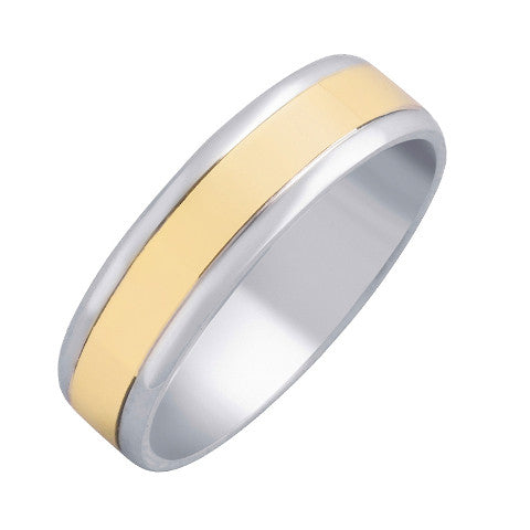 14k Two Tone Gold 7mm Comfort Fit Wedding Band with High Polished Finish