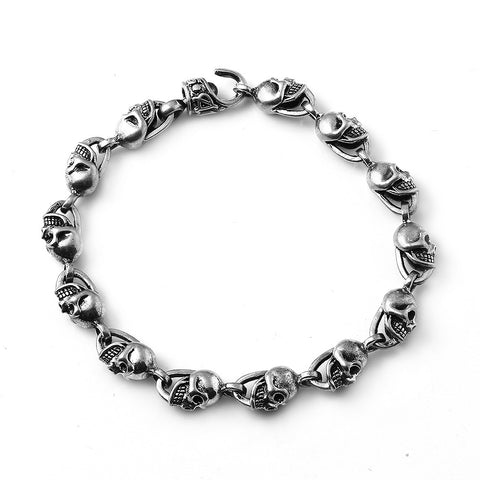 A&G Rock Mini Skull Link  Bracelet in Sterling Silver