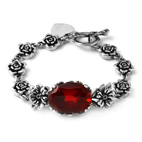 Romantic Rose Link Bracelet with Red Oval Center Stone in Sterling SIlver