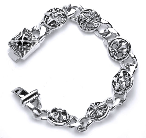 A&G Rock Fleur De Lis Cross Link Bracelet in Sterling Silver