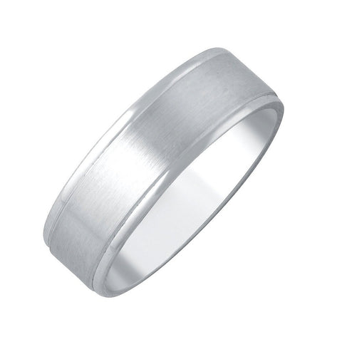 14k White Gold 6mm Comfort Fit Plain Wedding Band with Satin Center