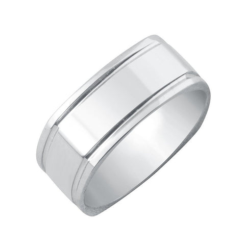 14k White Gold 6mm Comfort Fit Square Shank Design High Polished Finish Wedding Band