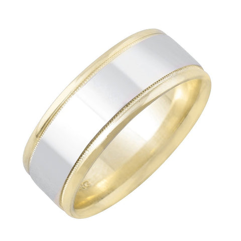 14k Gold 7mm Two Tone Flat Design Center with Milgrain and High Polished Edge Wedding Band