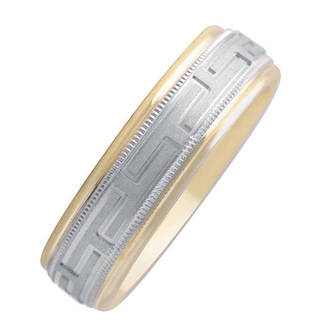 14k Gold Two Tone Roman Design Satin Finish Center and High Polished Edge 7mm Wedding Band
