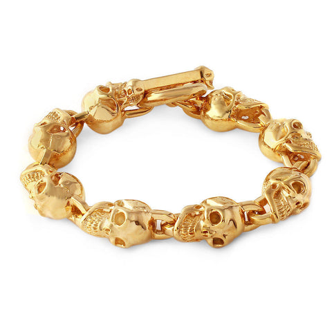 Solid Men's Skull Link Bracelet in 18K Yellow Gold