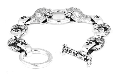 A&G Rock Viper Head Link Bracelet with T-Bar in Sterling Silver