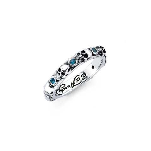 Mini Skull Bezel Set September Blue Sapphire CZ Birth Stone Ring in Sterling Silver