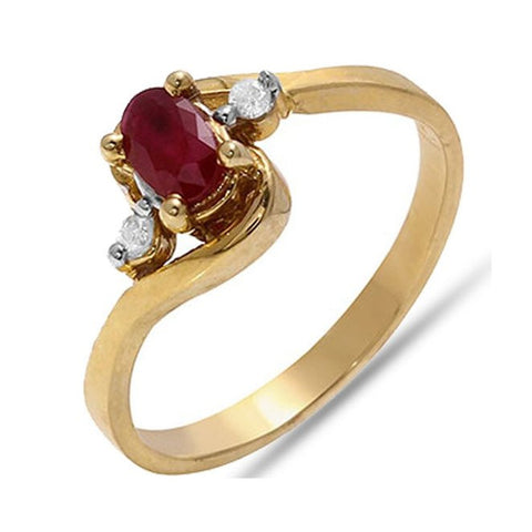 0.32 TCW Oval Cut Ruby & Diamond Ring in 10k Solid Yellow Gold