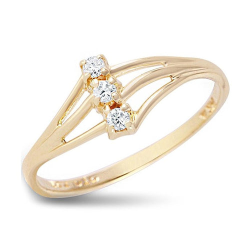 Cocktail Ring with 3 Diamonds in Solid 14k Yellow Gold