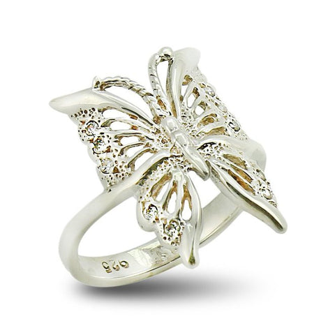 Fashion Butterfly Ring with Cubic Zirconia in Sterling Silver 925