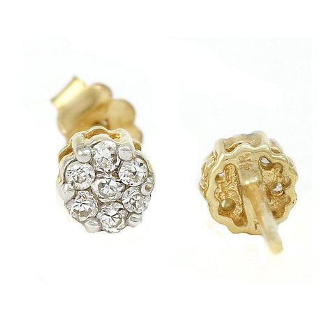 14k Solid Yellow Gold 1.3g Stud Earrings Six-prong Cubic Zirconia