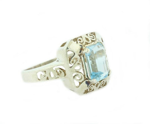 Asscher Cut Aquamarine Gemstone Cocktail Ring Silver 925