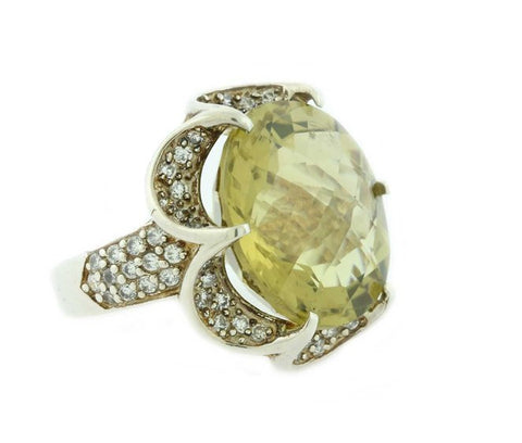 Round Lemon Quartz Gemstone Yellow Cocktail Ring Silver 925