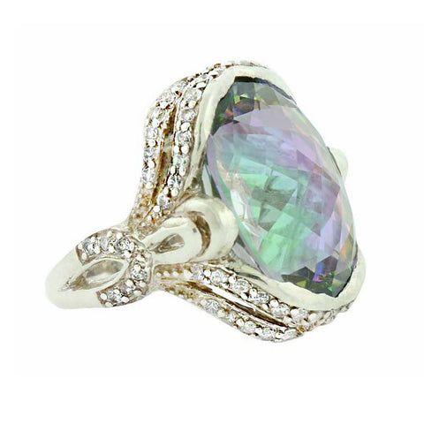 Oval Cut Mystic Topaz Classic Fashion Ring in Sterling Silver 925
