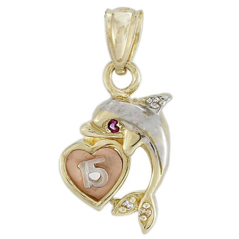Dolphin Charm with Heart Pendant Cubic Zirconia in 14k Multi-tone Gold
