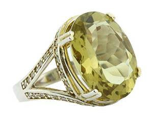 Oval Lemon Quartz Gemstone Yellow Cocktail Ring Silver 925