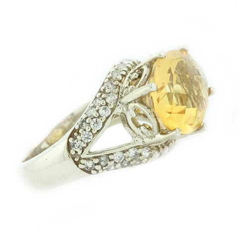 Oval Citrine Gemstone Cocktail Ring Silver 925