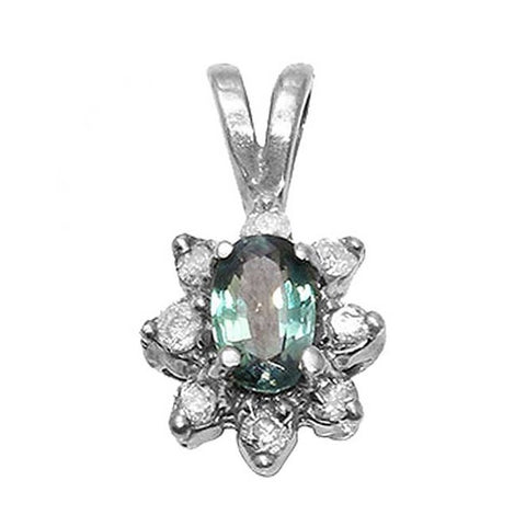 Alexandrite Oval Cut Pendant with Accents Solid 14k White Gold
