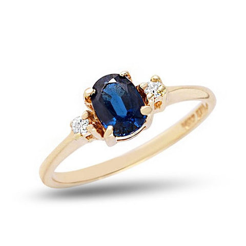Cocktail Gemstone Ring with Blue Sapphire Center in Solid 14k Yellow Gold
