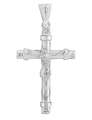 Crucifix Charm Pendant with Cz in Solid 14k White Gold