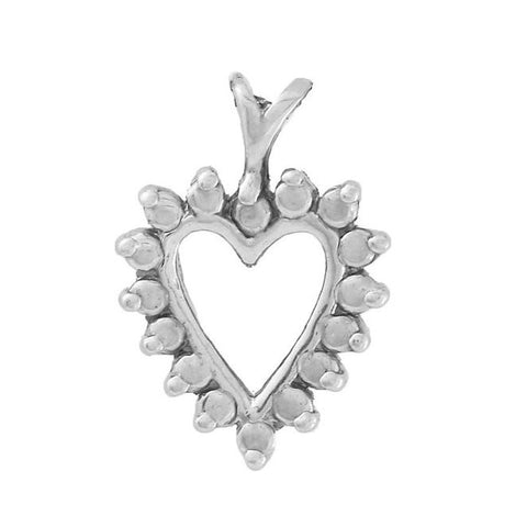Fine Heart Pendant with Accents in Solid 14k White Gold