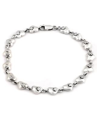 Mini Heart Link Charm Bracelet in Sterling Silver