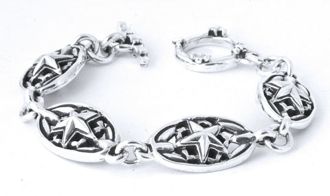 A&G Rock Oval Star Link Bracelet in Sterling Silver