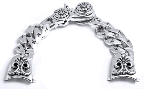 A&G Rock Flower and Star Link Design Watchband in Sterling Silver