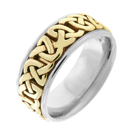 14k Two Tone Gold 8mm Comfort Fit Design with Celtic Knot Pattern Wedding Band