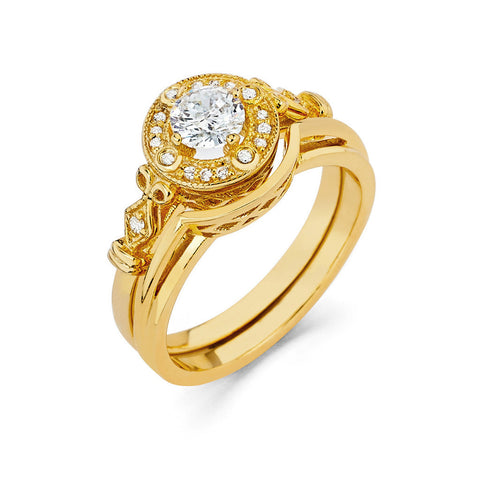 0.48 CT. T.W. Round-Cut Diamond Engagement Filigree Ring in 14K Yellow Gold