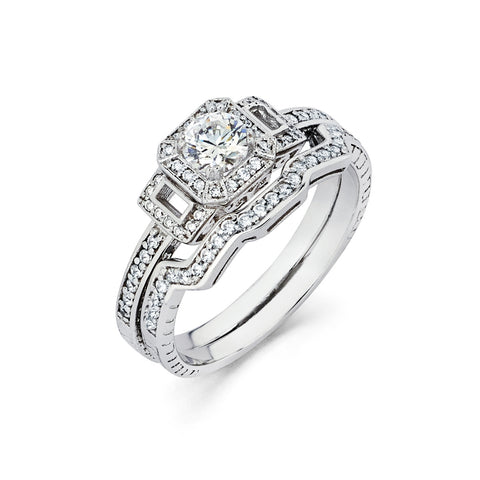 1.09 CT. T.W. Round-Cut Diamond Engagement Filigree Ring in 14K White Gold