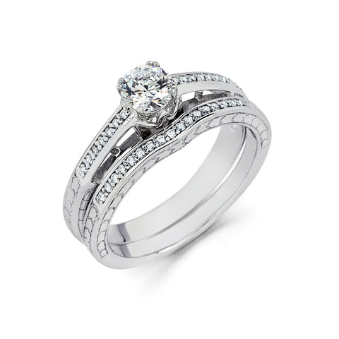 0.505 CT. T.W. Round-Cut Diamond Engagement Filigree Ring in 14K White Gold