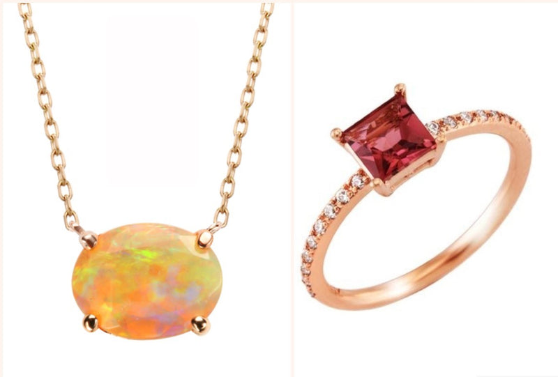 Opal and Tourmaline; October's birthstones