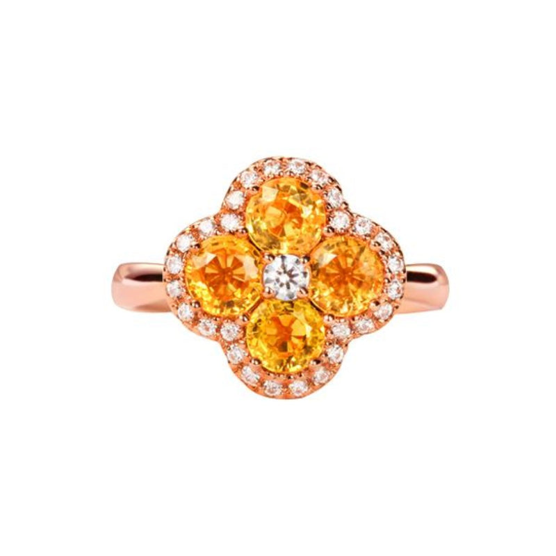 Flower Design Yellow Sapphire Ring