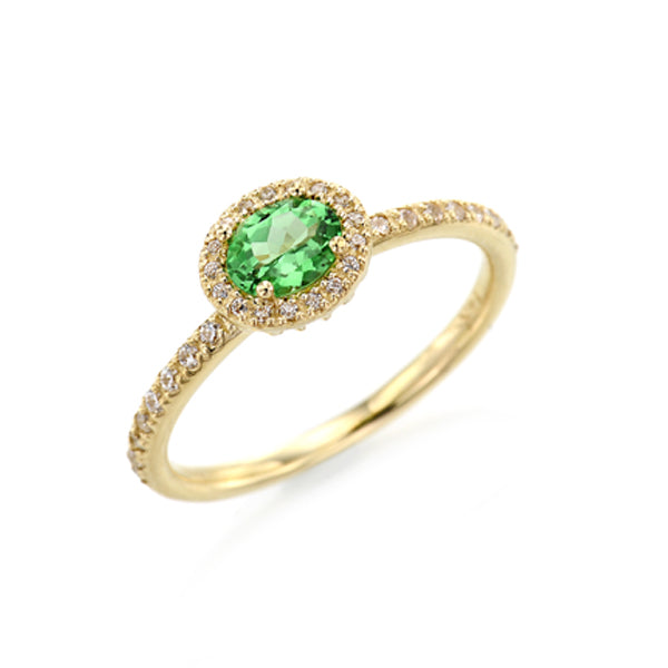 Oval Tsavorite Halo Ring