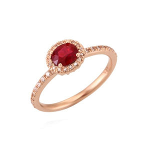 Oval Ruby (0.5ct) Halo Ring