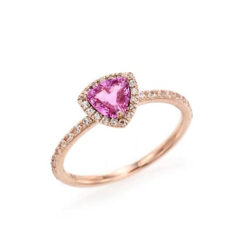Triangle Pink Sapphire Simple Halo Ring