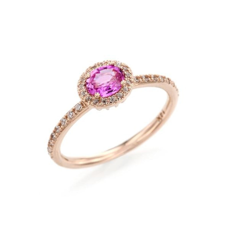 Oval Pink Sapphire (small) Halo Ring
