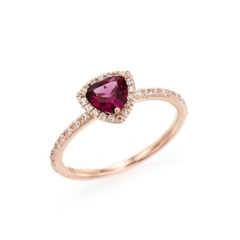 Triangle Rhodolite Garnet Halo Ring